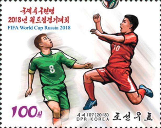 Um dos selos lançados pela Coreia do Norte celebrando a Copa do Mundo (Foto: Divulgação)