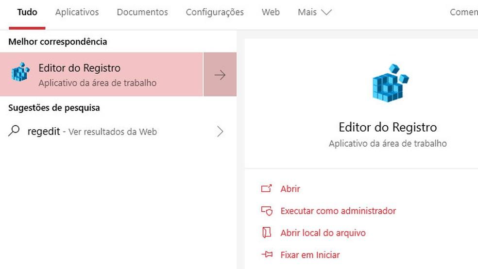 Abra o Editor de Registro do Windows 10 — Foto: Reprodução/Tais Carvalho
