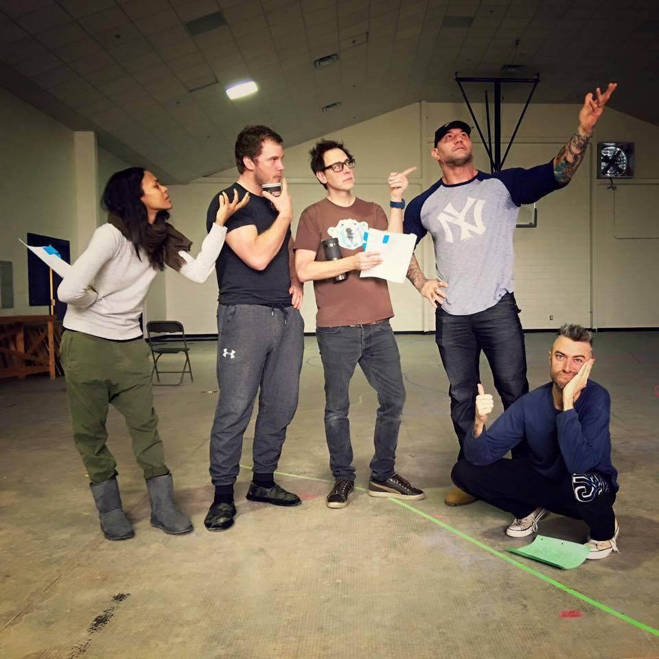 Zoe Saldana, Chris Pratt, James Gunn, Dave Bautista e Sean Gunn (Foto: Facebook)