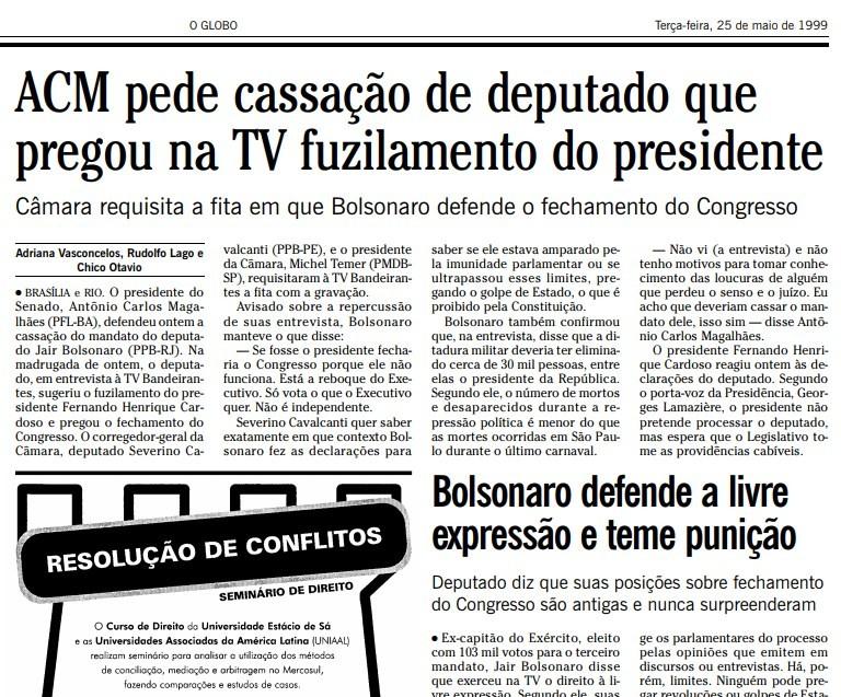Trecho da edição do GLOBO de 24 de maio de 1999