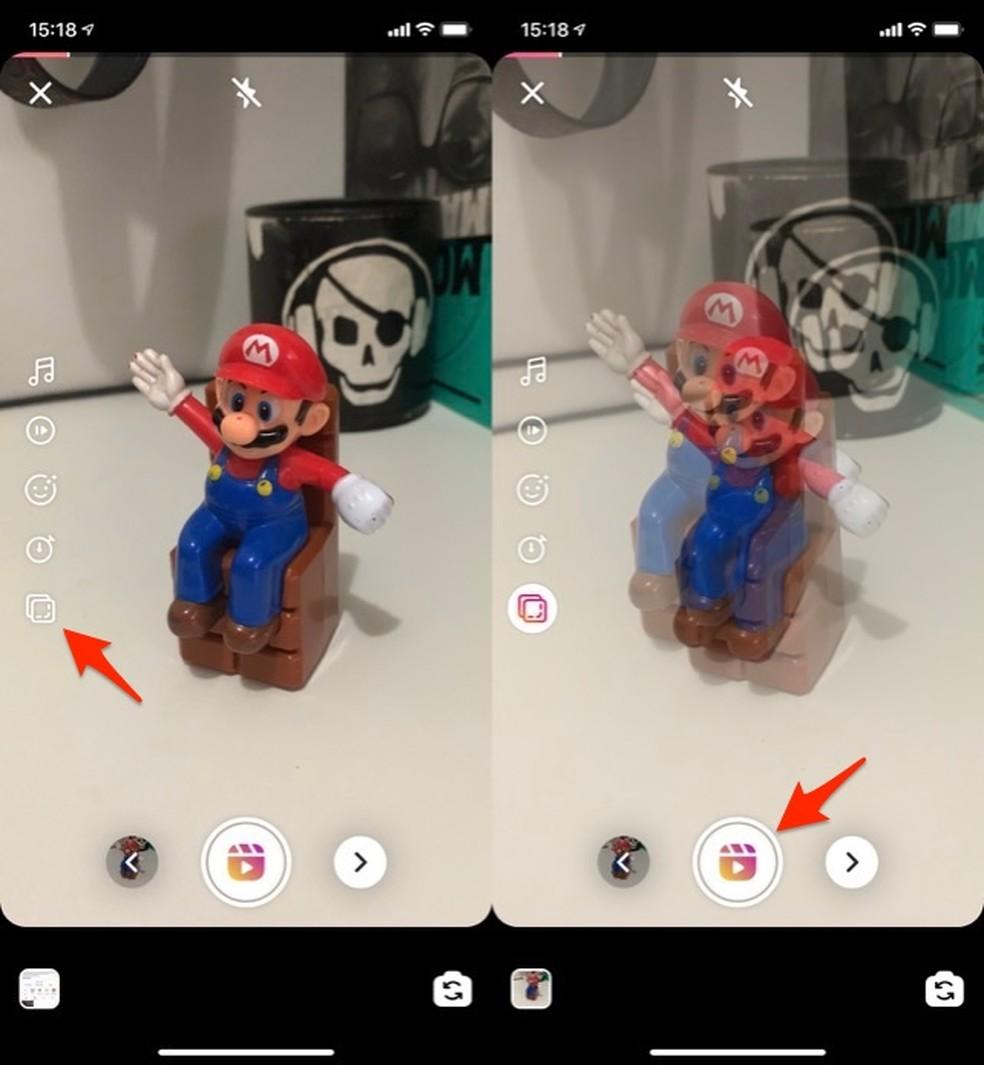 Ação para usar o recurso para alinhar uma nova gravação de clipe de vídeo no Instagram Reels — Foto: Reprodução/Marvin Costa