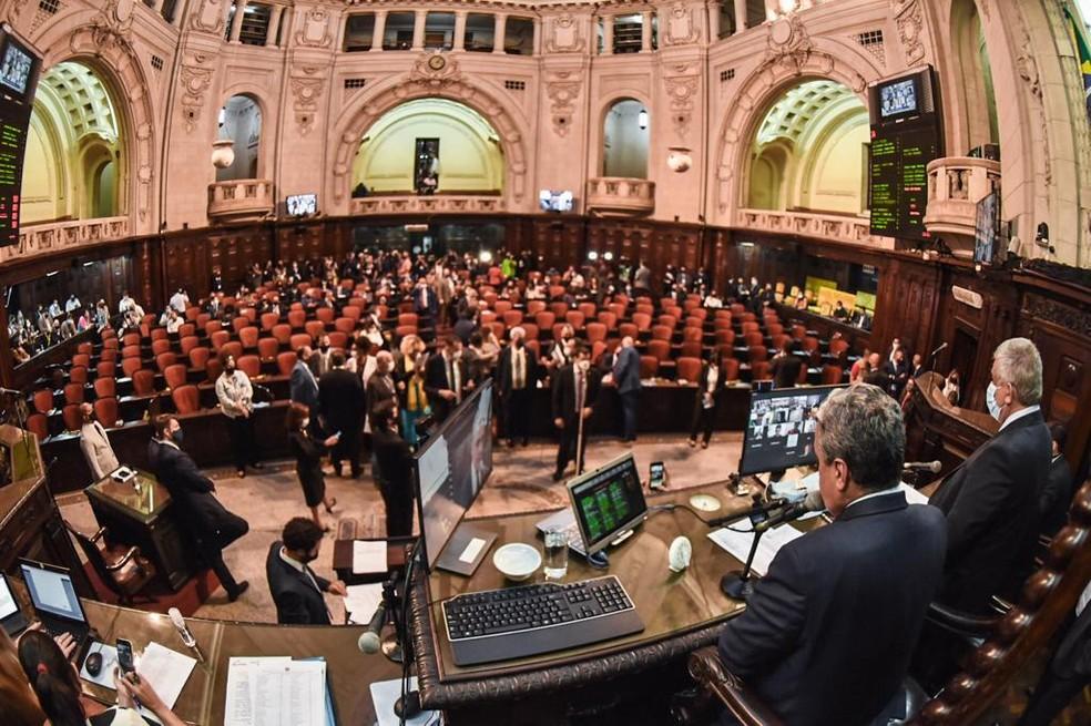 Sessão que debate impeachment de Wilson Witzel continua na Alerj — Foto: Divulgação/Alerj