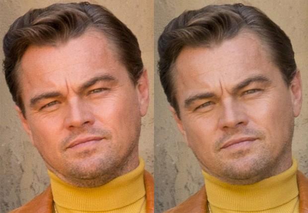 Leonardo DiCaprio sem e com Photoshop (Foto: Divulgação/Sony)