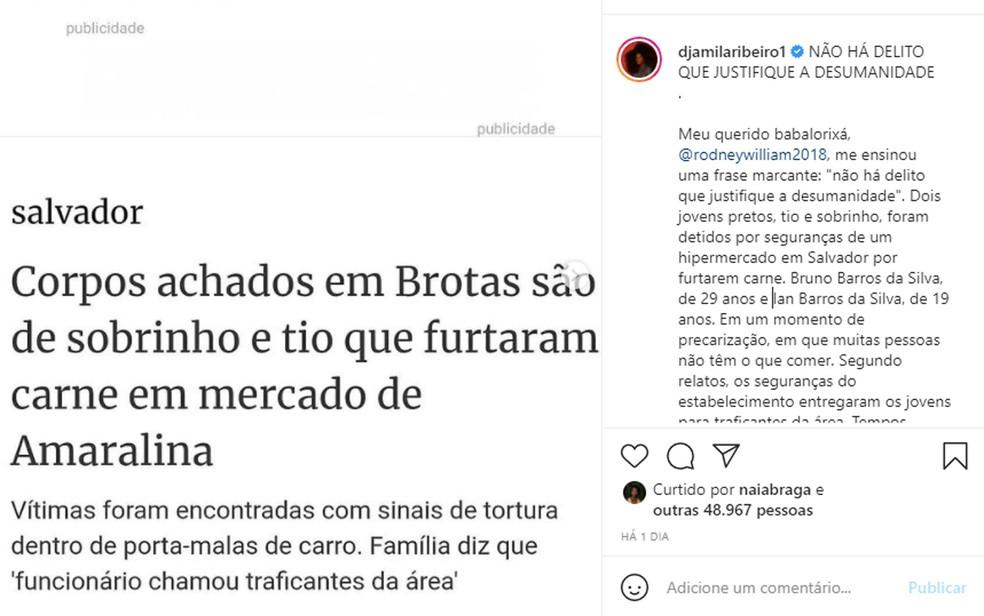 Djamila Ribeiro também se manifestou nas redes sociais a respeito do crime — Foto: Reprodução/Instagram
