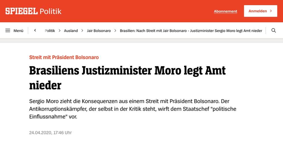 Der Spiegel (Alemanha): Ministro da Justiça brasileiro Moro deixa o cargo — Foto: Reprodução/Der Spiegel