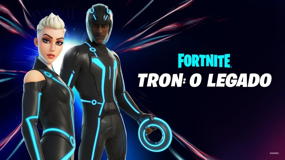 Foto: Fortnite e Tron: O Legado é a mais nova colaboração que traz skins inspiradas em filmes da cultura pop — Foto: Divulgação / Brasil_Fortnite