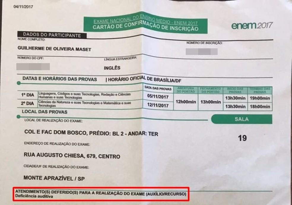 Inscrição de Guilherme de Oliveira Maset consta deficiência auditiva (Foto: Cláudia Maset/Arquivo Pessoal)