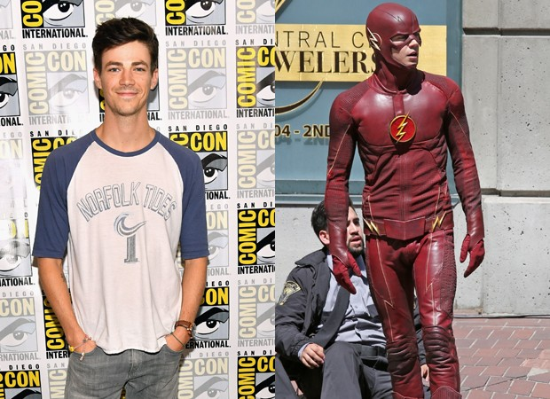 Grant Gustin, o protagonista de The Flash, com o uniforme da nova temporada (Foto: Getty Images e Backgrid)