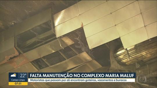 Túnel do Complexo Maria Maluf, em São Paulo, tem vazamentos, infiltrações e buracos