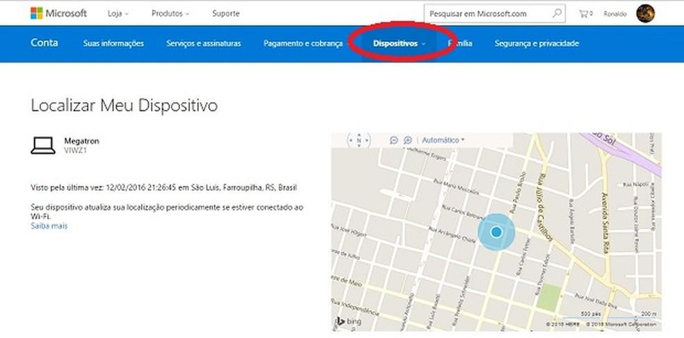 Como rastrear um dispositivo utilizando o recurso do Windows 10 — Foto: Reprodução