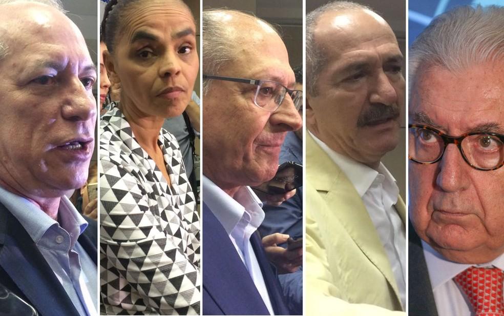 Pré-candidatos à Presidência Ciro Gomes, Marina Silva, Geraldo Alckmin, Aldo Rebelo e Afif Domingos (Foto: Tahiane Stochero/G1 e Dario Oliveira/Estadão Conteúdo)