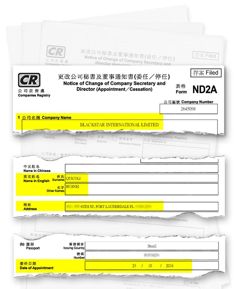 Documento de Hong Kong mostra entrada de Quícoli na Blackstar em 23 de outubro de 2018 — Foto: Reprodução