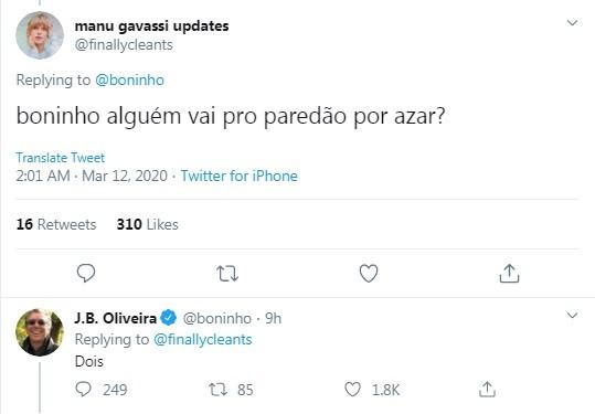 Boninho responde internauta no Twitter (Foto: Reprodução)