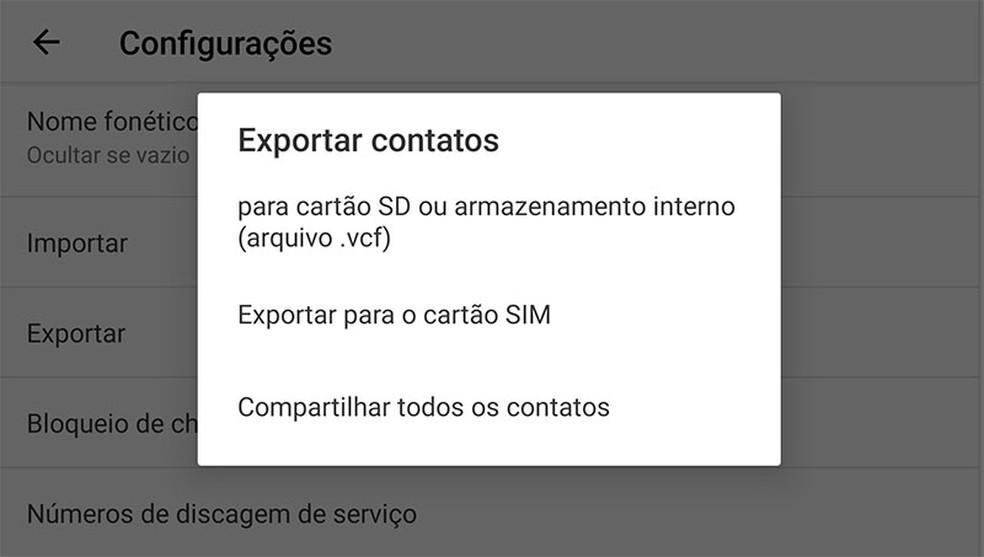 Opção de Exportar para SIM copia os contatos armazenados no celular para o chip. — Foto: Reprodução