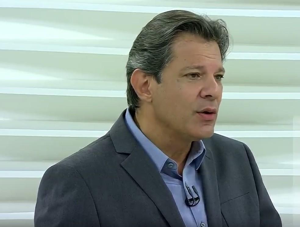 Candidato do PT à Presidência, Fernando Haddad, participa do programa Roda Viva em 22 de outubro — Foto: Reprodução/TV Cultura