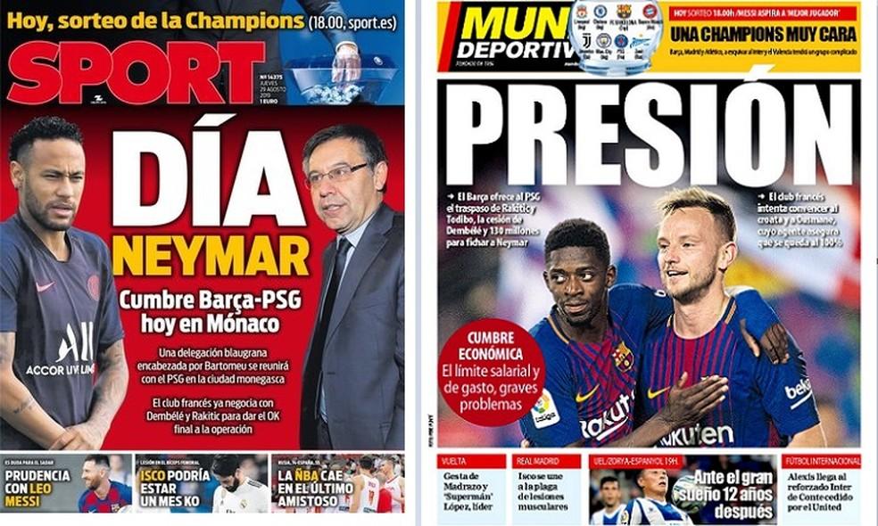 Capas de Sport e Mundo Deportivo sobre Barcelona, PSG e Neymar — Foto: Reprodução / Site Oficiais