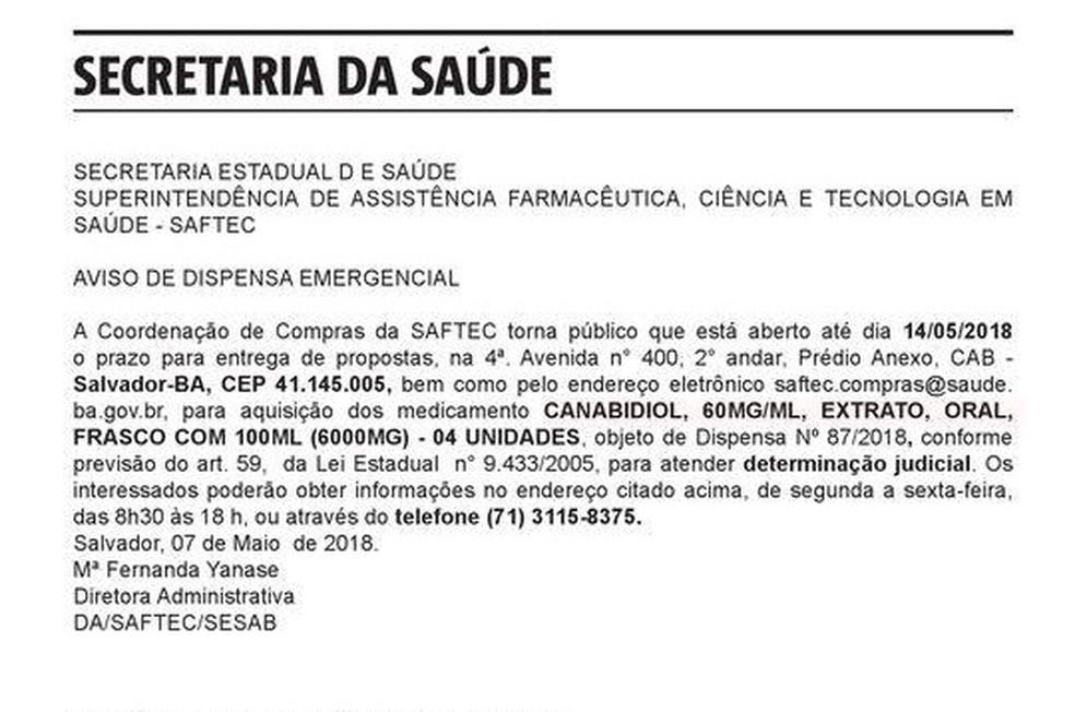 Anúncio da Sesab foi publicado na esdição desta terça-feira (8) do Diário Oficial do Estado. (Foto: Reprodução)