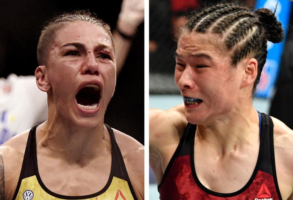 Jéssica Bate-Estaca (esq.) tentará encerrar a sequência de 19 vitórias de Weili Zhang — Foto: Info Esporte