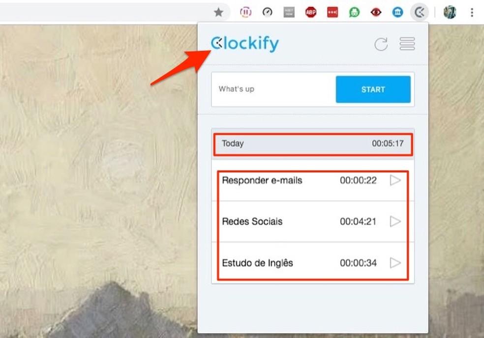 Atividades com tempo coletado pela extensão Clockify Time Tracker — Foto: Reprodução/Marvin Costa