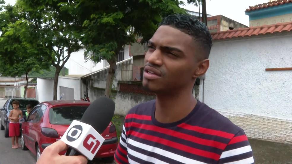 Patrick do Céu, rapaz que salvou menino do ataque de um pitbull — Foto: Reprodução/TV Globo