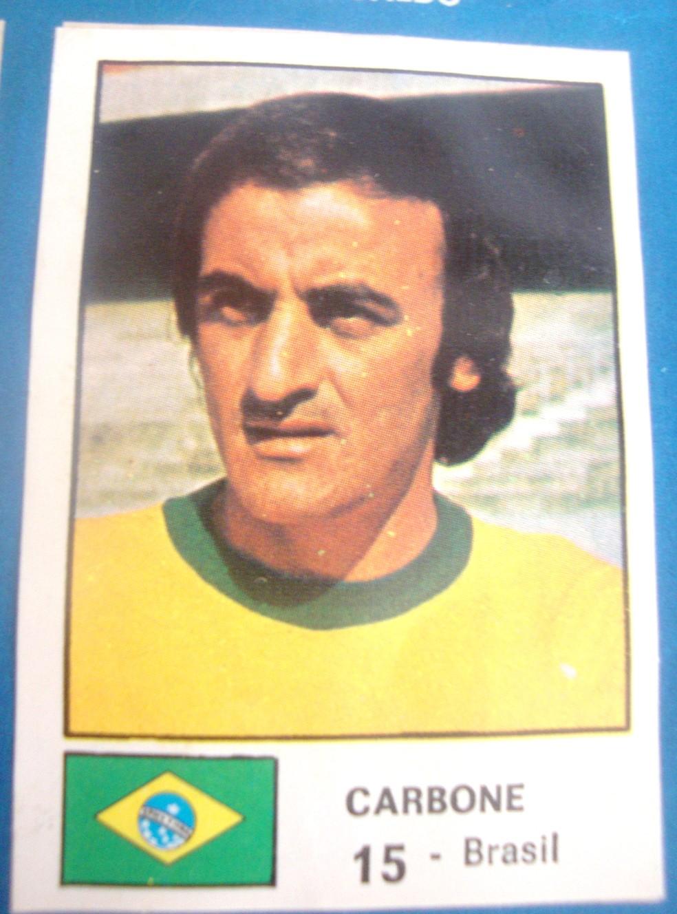Figurinha de Carbone no álbum da Copa de 1974 — Foto: Reprodução