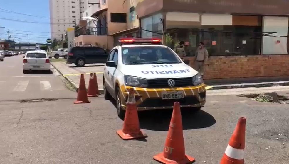 Equipe da SMTT de Aracaju interditou o local— Foto: Divulgação/SMTT/Aracaju