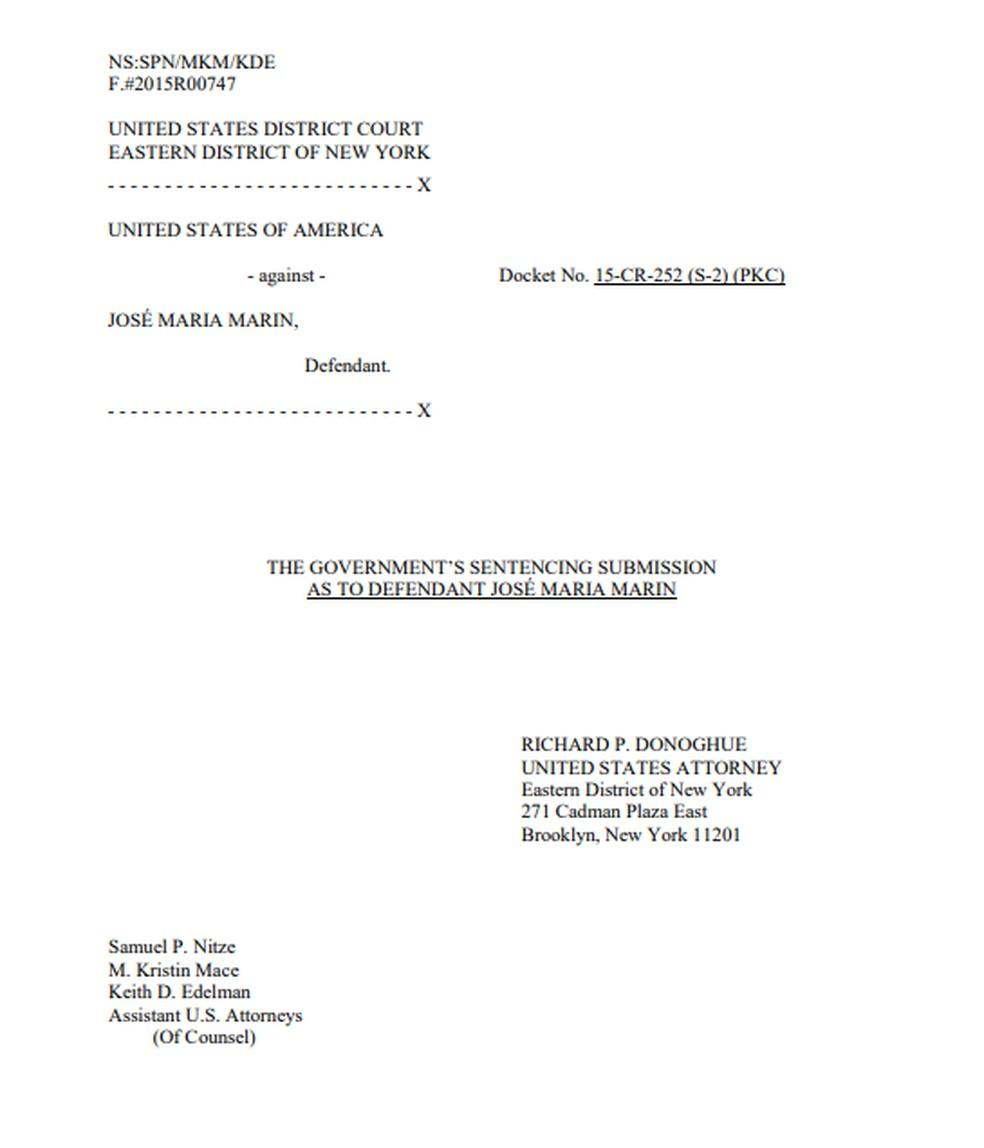 Documento do caso de Marin com a Justiça dos Estados Unidos (Foto: Reprodução)
