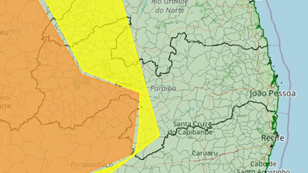 Alertas de baixa umidade do Inmet valem para 102 cidades da Paraíba nesta terça-feira (13) — Foto: Reprodução/Inmet
