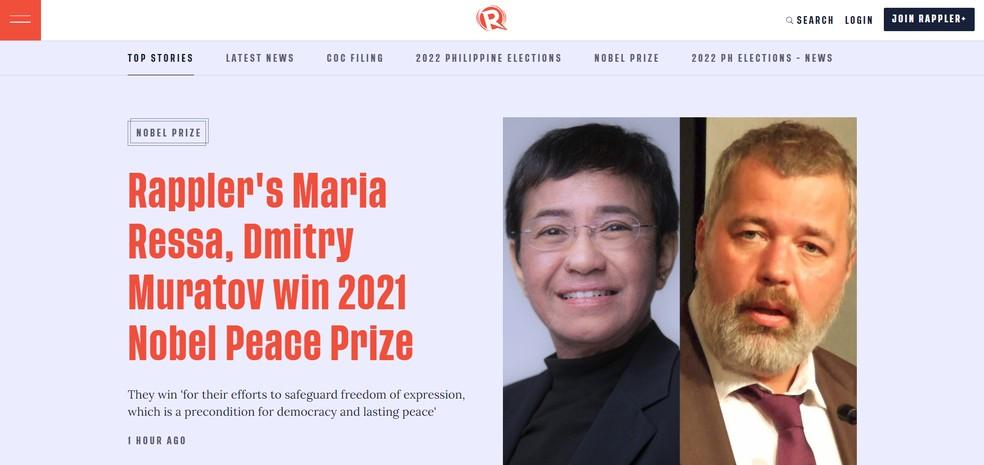 Captura de tela da Rappler, site de notícias fundado pela jornalista filipina Maria Ressa, uma das vencedoras do Nobel da Paz de 2021 — Foto: Reprodução/rappler.com