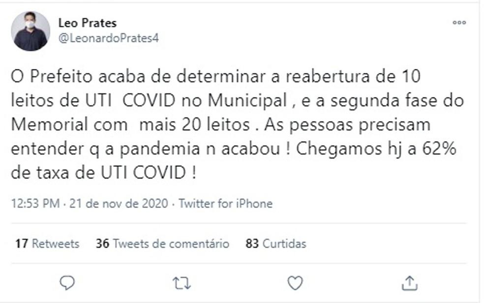 Secretário de saúde anuncia nas redes sociais reabertura de leitos em Salvador: 'A pandemia não acabou' — Foto: Reprodução / Redes Sociais