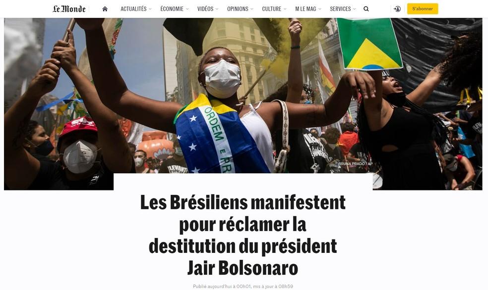 Reprodução de texto do Le Monde sobre manifestações no Brasil em 2 de outubro de 2021 — Foto: Reprodução/Le Monde