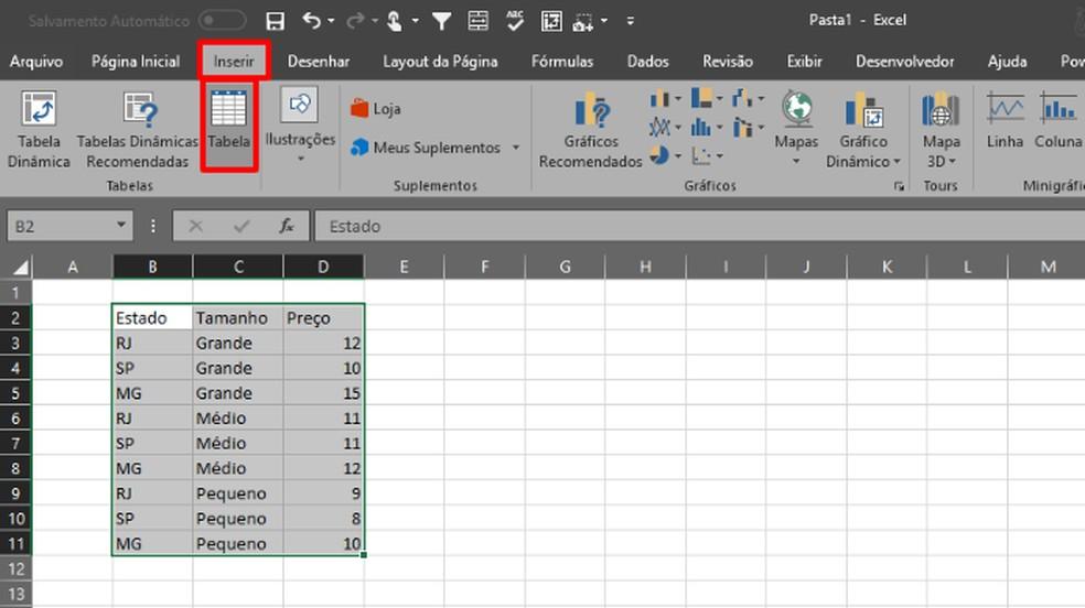 Marque as células e clique nos comandos destacados para inserir uma tabela (Foto: Reprodução/Daniel Ribeiro)