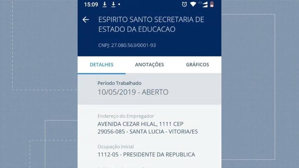 Capixaba está registrada com o cargo de'presidente da República' — Foto: Reprodução/TV Gazeta