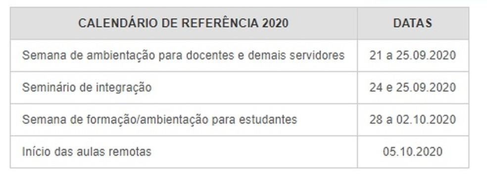 Calendário IFRN — Foto: Divulgação