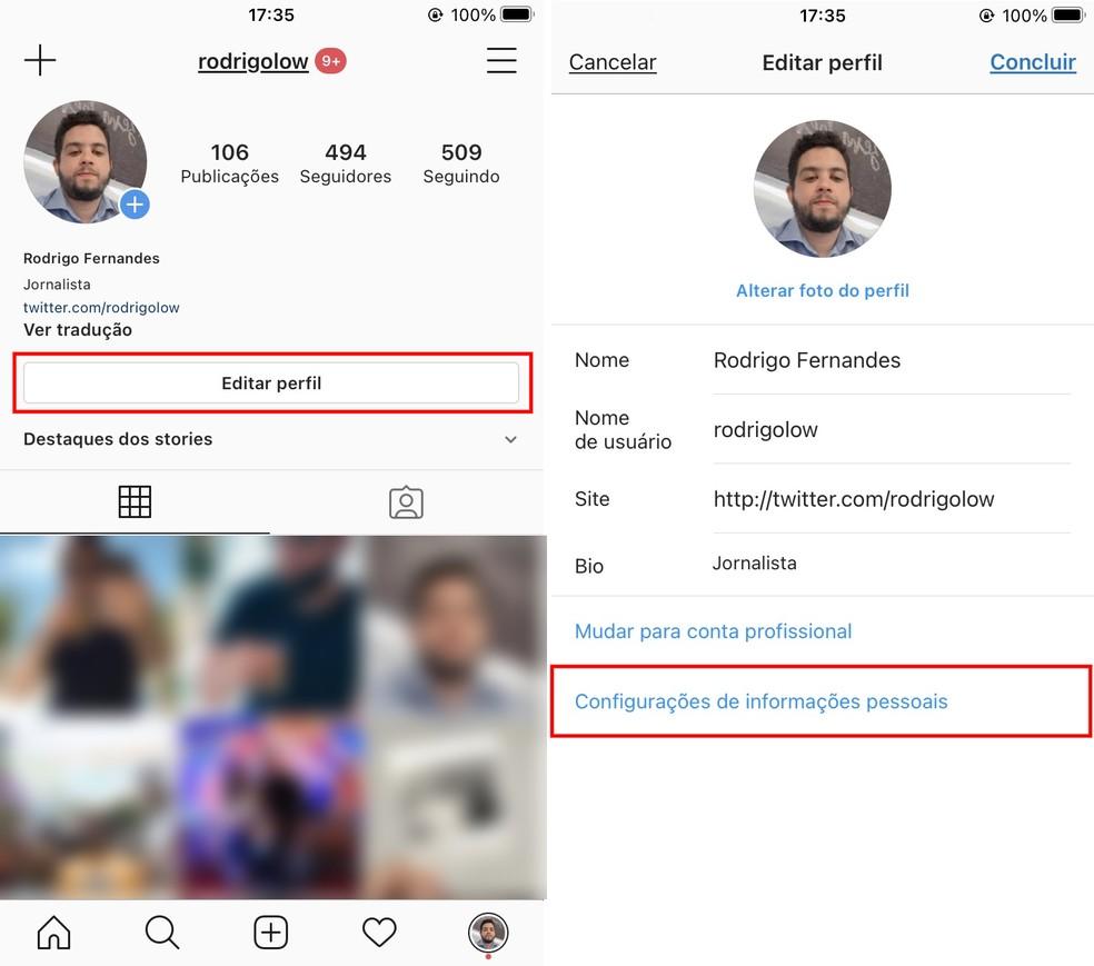 Acessando as configurações de informações pessoais do Instagram no iPhone — Foto: Reprodução/Rodrigo Fernandes
