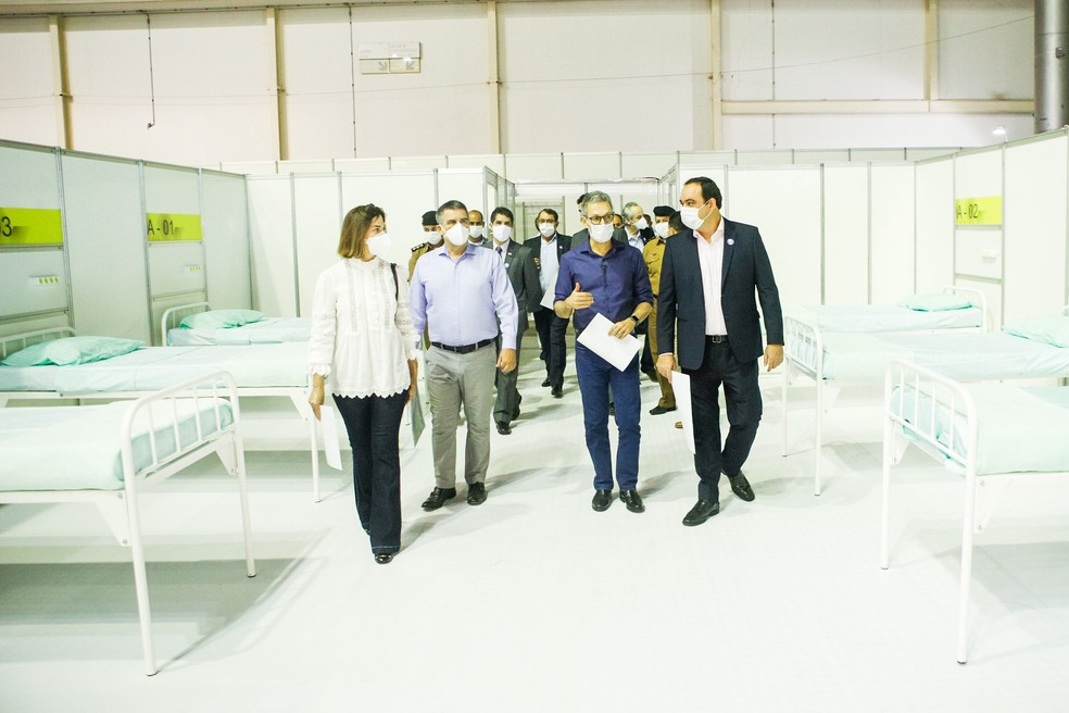 Indústria é parceira na construção do Hospital de Campanha no Expominas. — Foto: Pedro Gontijo/ Imprensa MG