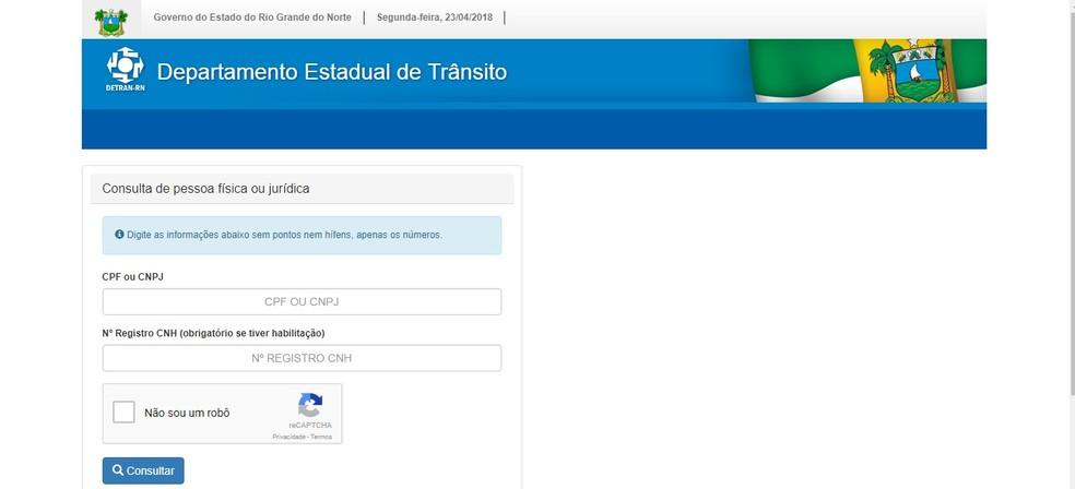 No site do Detran, usuário precisa preencher informações nos campos indicados para iniciar solicitação online (Foto: Reprodução/Detran)