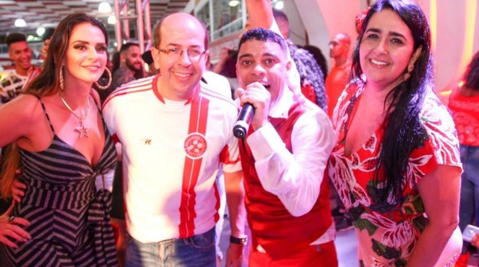Shanna e o marido, Rafael, na quadra do Salgueiro durante escolha do samba em 2018  — Foto: Reprodução/Rede Social