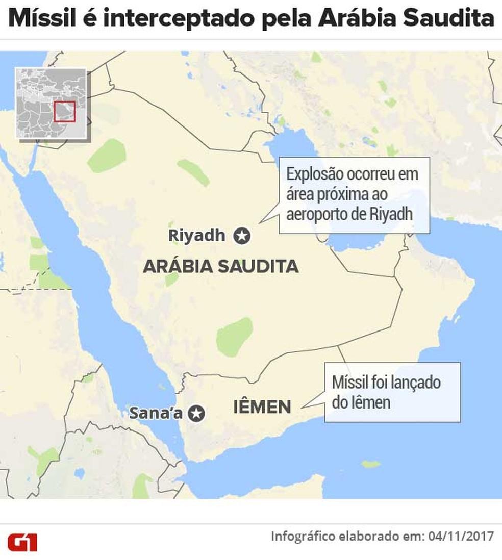 Arábia Saudita intercepta míssil lançado do Iêmen (Foto: Betta Jaworski/G1)