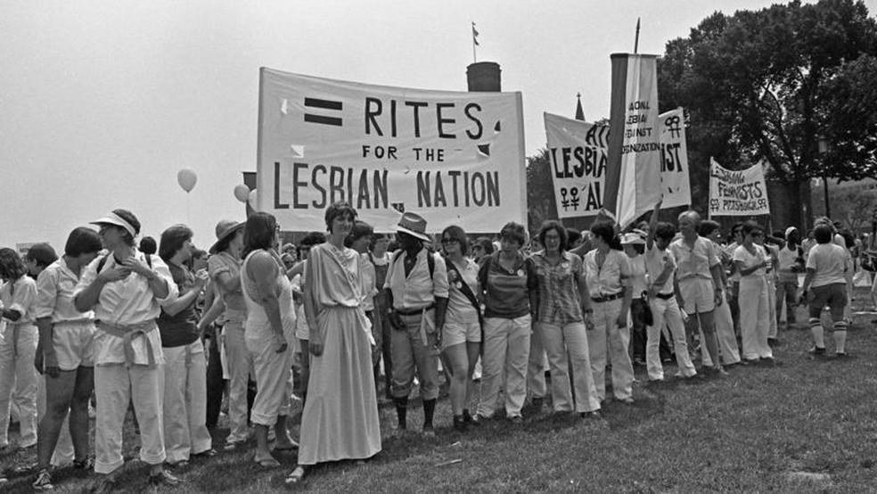Lésbicas também realizaram manifestações e debates em defesa dos direitos das mulheres nos Estados Unidos. Esta foto é de 1978 — Foto: Ann E. Zelle/ Getty  Images