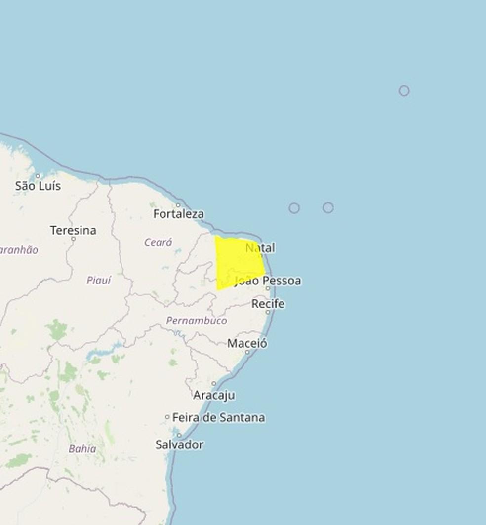 Alerta do Inmet parra municípios do RN — Foto: Divulgação