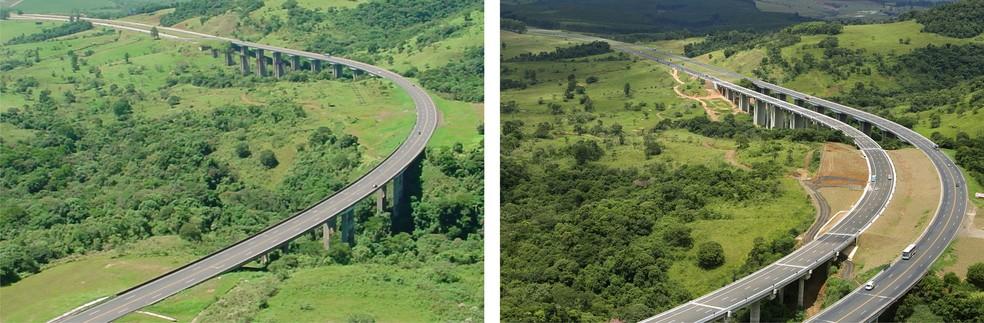 Antes e depois da duplicação da Serra de Botucatu, entre o km 204 e 206 da SP 280 — Foto: Fotos de arquivo/ Digna Imagem/Clóvis Ferreira/Divulgação