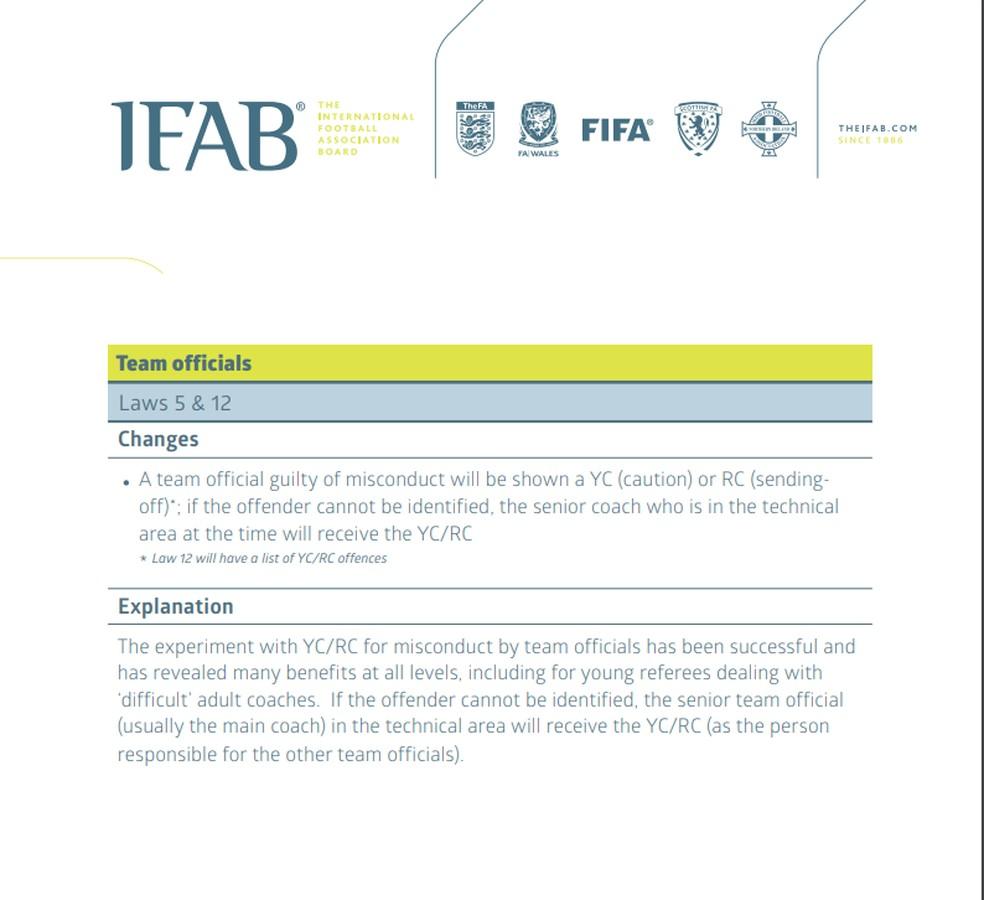 Regras da IFAB sobre treinadores — Foto: Reprodução