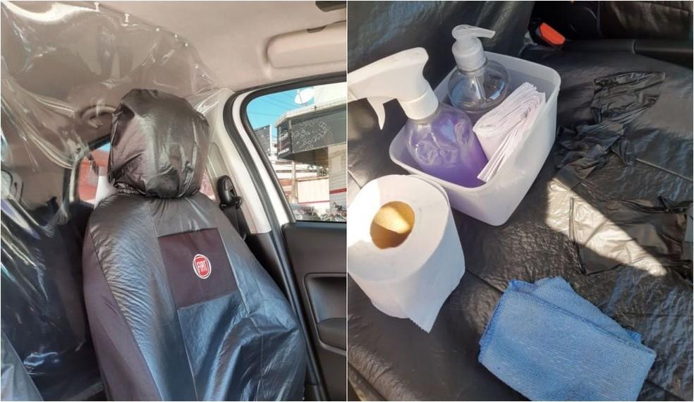 Motorista conta que desinfecta banco de trás a cada duas horas, além de não ter contato com passageiros. — Foto: Arquivo Pessoal/Gerson Alexandre