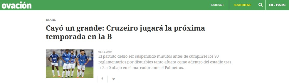 Ovación, do Uruguai, repercute queda do Cruzeiro — Foto: Reprodução