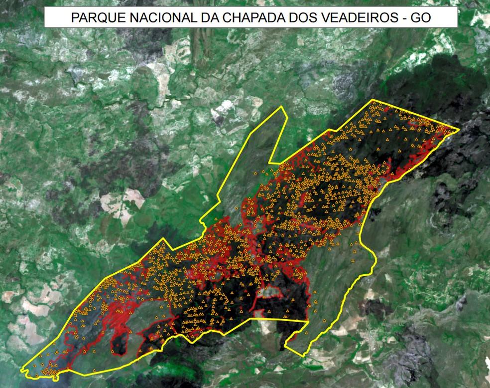 Focos de incêndio na Chapada dos Veadeiros entre os dias 17 e 24 de outubro (Foto: Divulgação/Inpe)