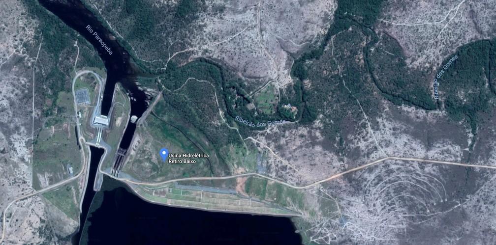 Imagem de satélite da usina hidrelétrica de Retiro Baixo, em Minas Gerais — Foto: Google Maps