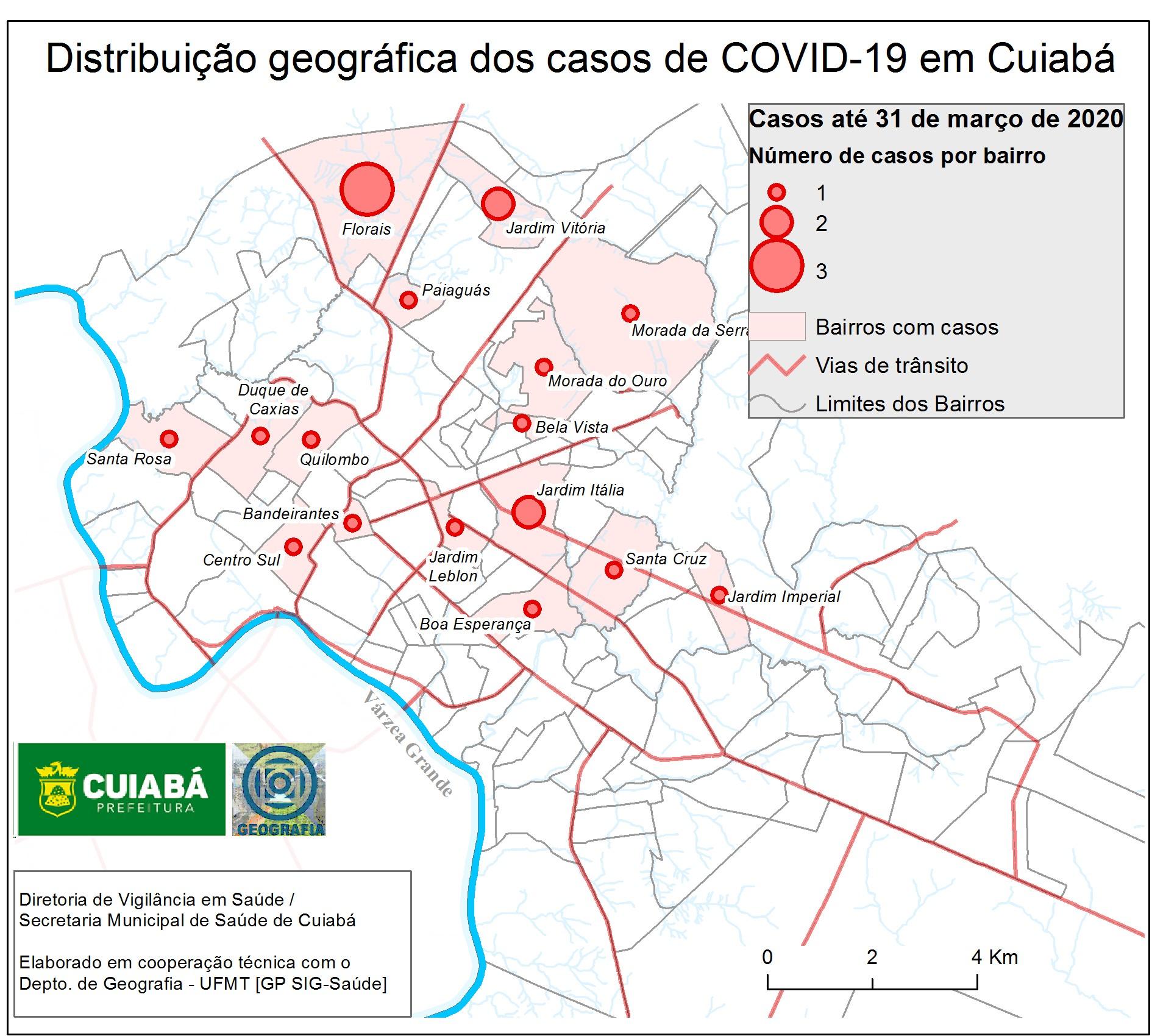 Estudo da UFMT aponta bairros que apresentam casos de Covid-19 em Cuiabá