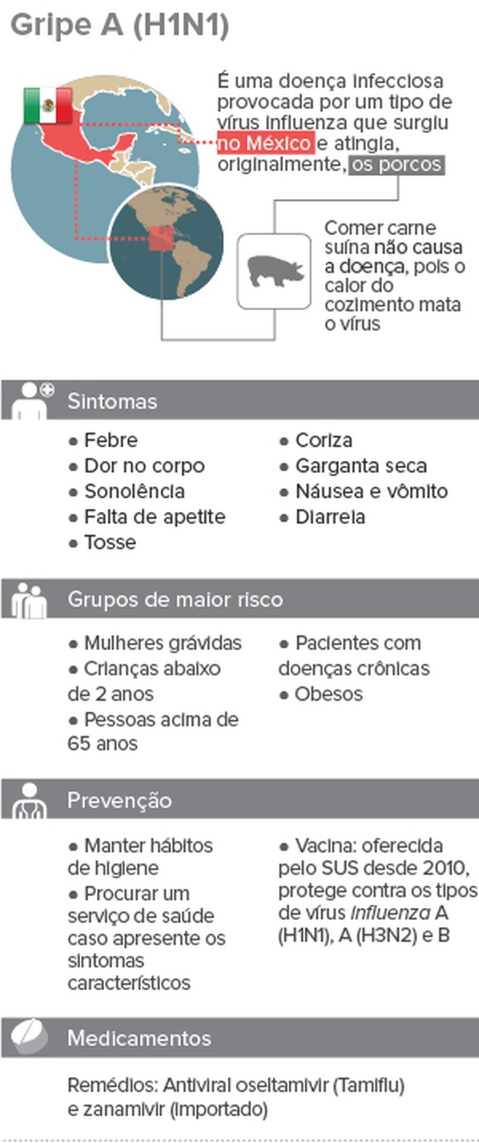 Info gripe A H1N1 — Foto: Arte/G1