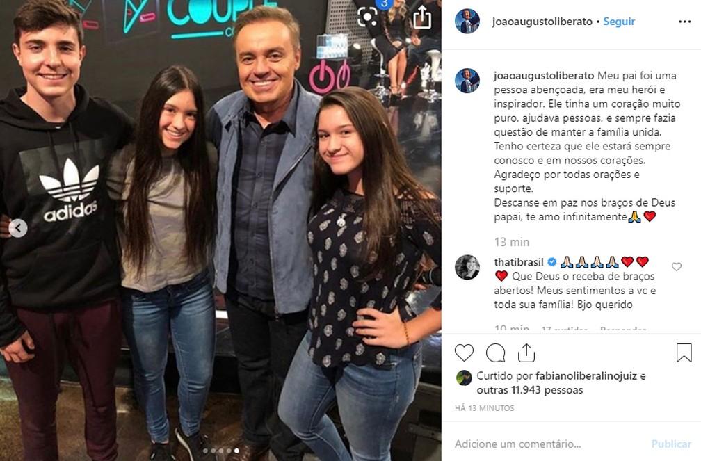 João Agusto, filho mais velho de Gugu, prestou homenagem ao pai neste sábado (23) — Foto: Reprodução/Instagram